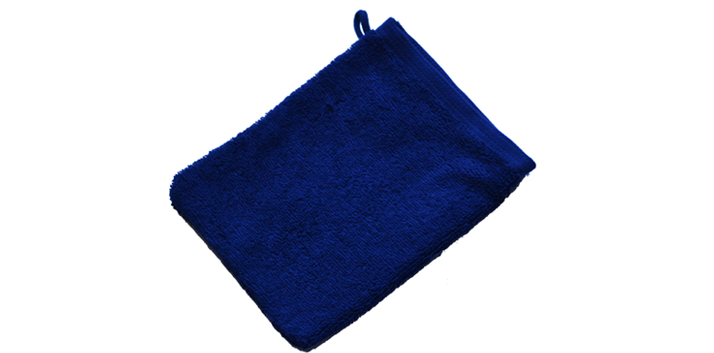 Washandjes blauw logo